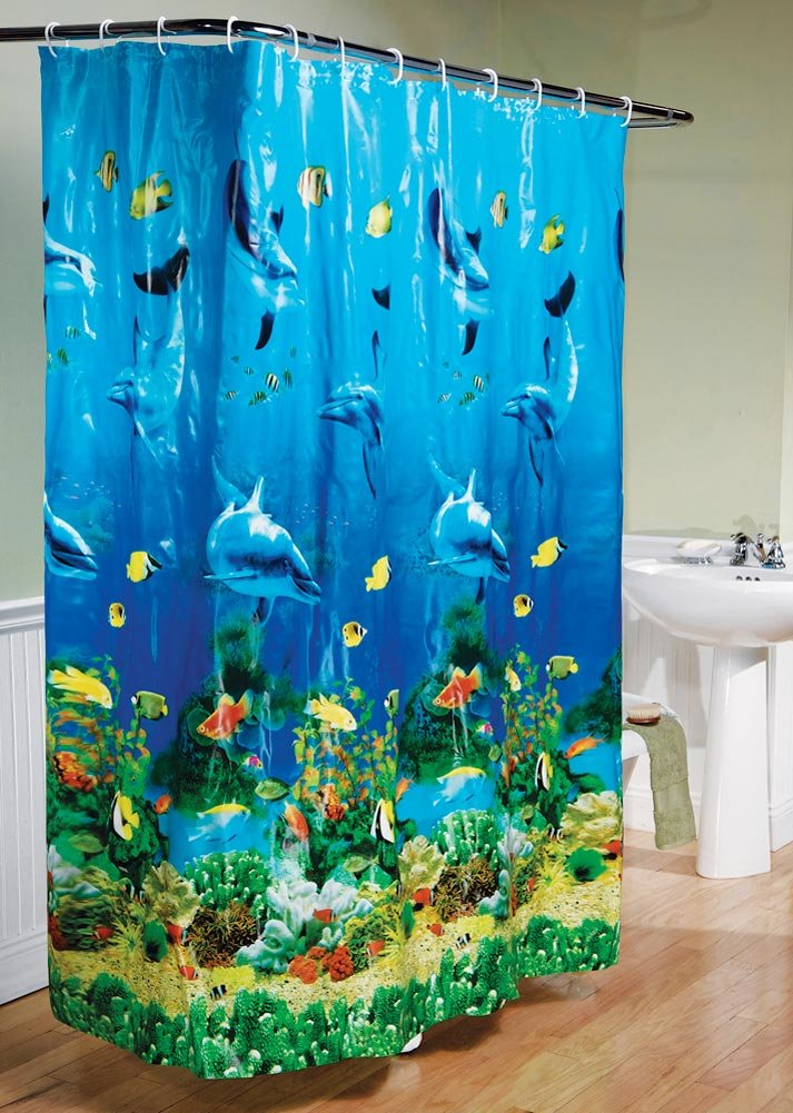Amazon.com: Dolphin Bay Under The Sea Shower Curtain, Blue: Home ...