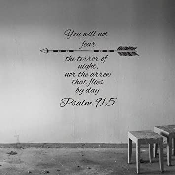 Wall Decals Quotes Psalm 91:5 Quote Bible Verse Arrows Sign Words Family  Decor Wall