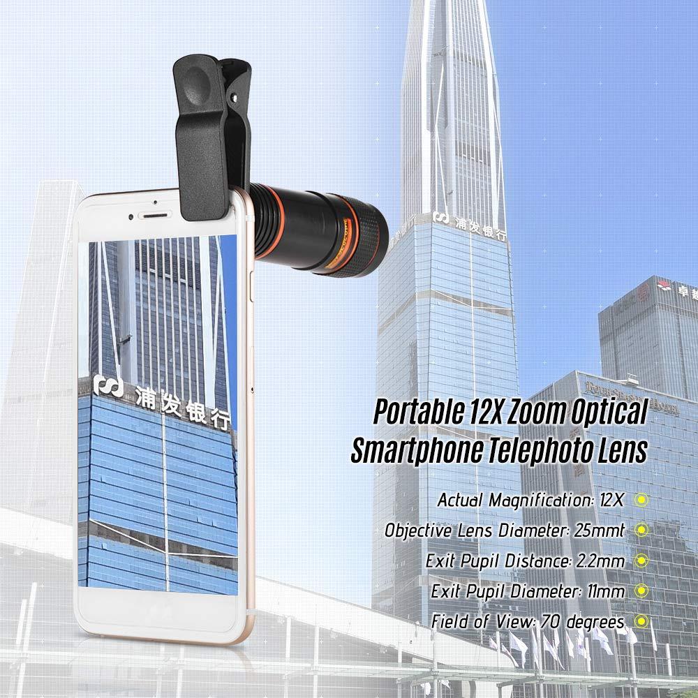 Docooler 12X Zoom Ottico Teleobiettivo Smartphone Portatile Cellulare Lente per Telescopio con Clip Universale per iPhone Samsung HUAWEI Xiaomi HTC pi/ù telefoni