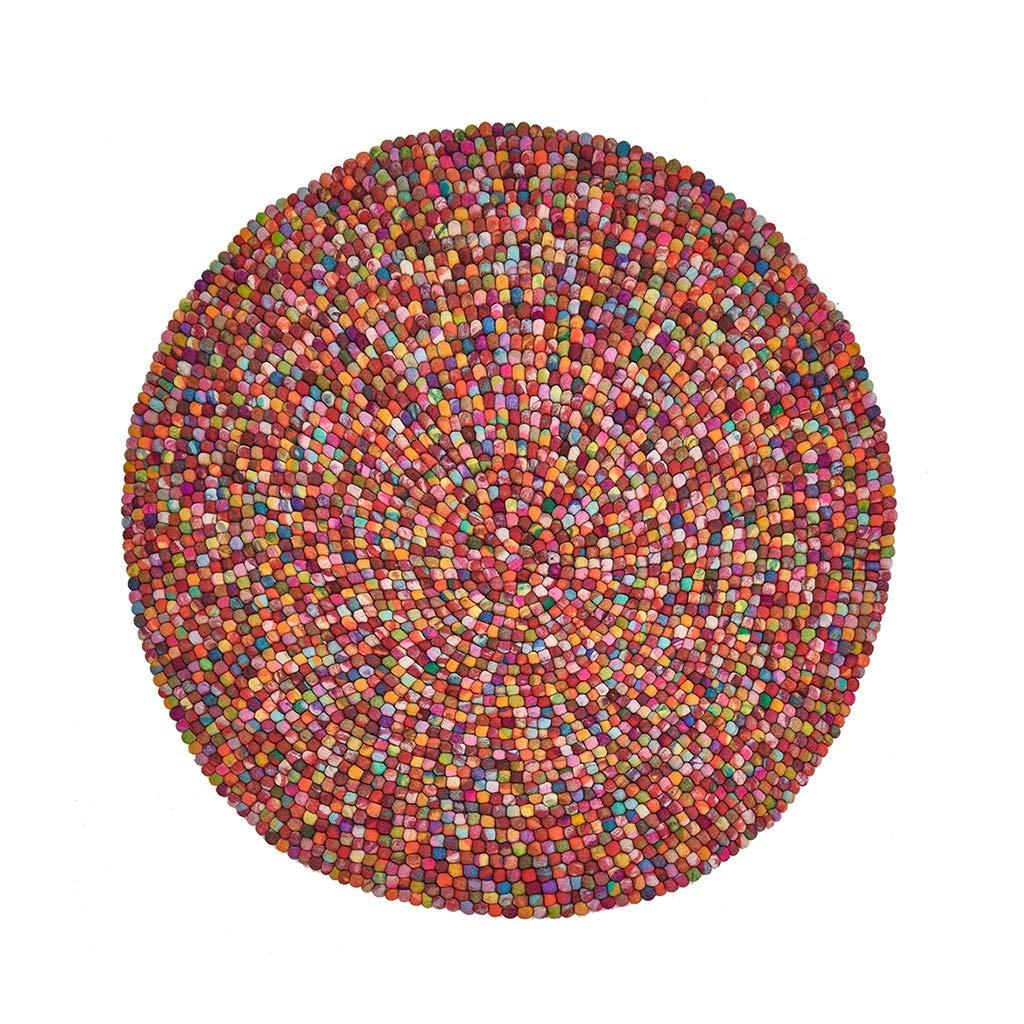 丸型カーペット 寝室用カーペット ウール製カーペット 子供用カーペット タペストリー 瞑想マット ベッドサイドマット ギフト (Color : Red, Size : D:90cm) D:90cm Red B07T4G53LJ