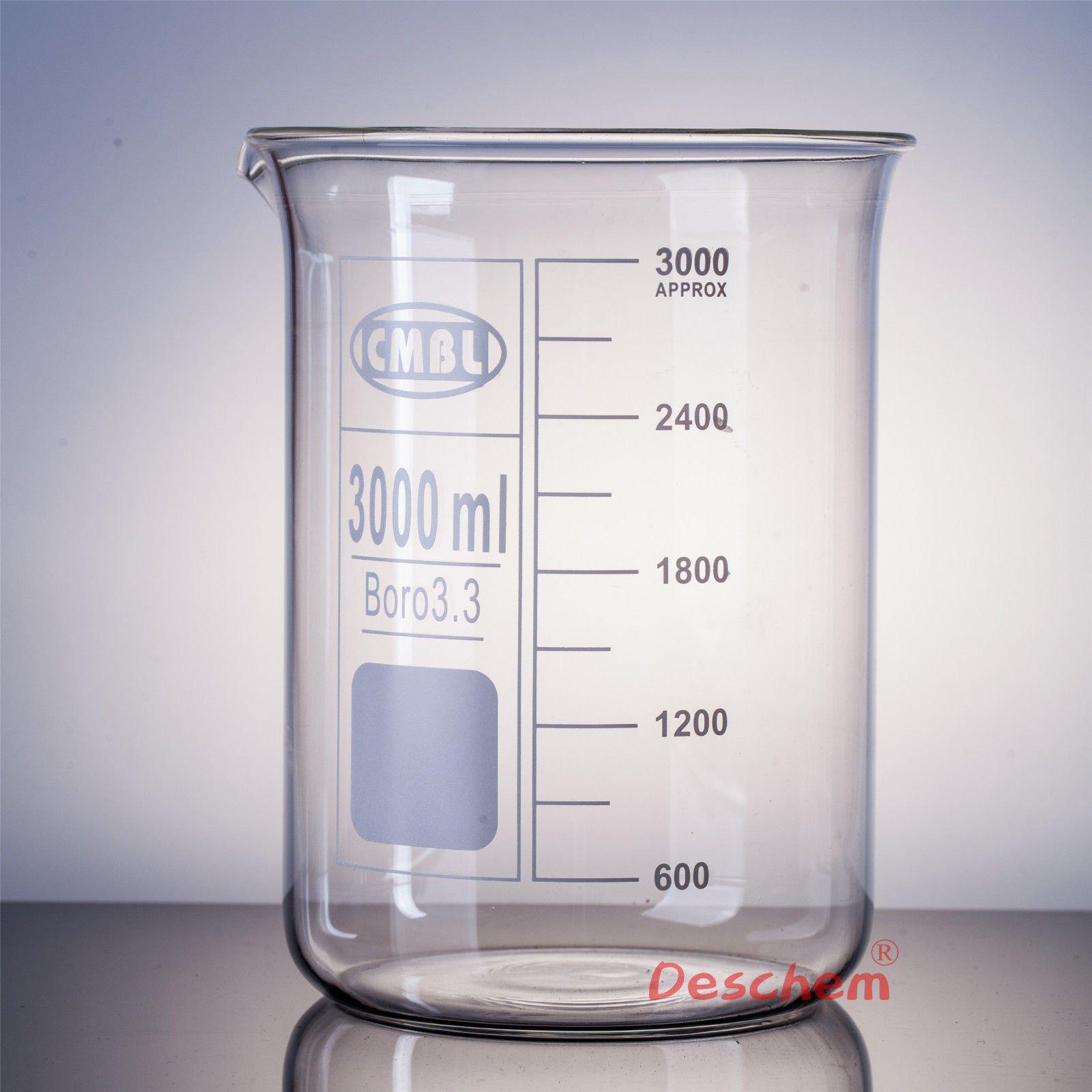 Deschem 3000mL Glass Beaker,3 Litre,Low Form,Good Quality,Lab Borosilicate Glassware by Deschem