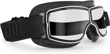 Bertoni Motorradbrille Schutzbrille Für Harley Davidson Chopper Und Scrambler Aus Schwarzem Leder Und Chrom Rahmen Transparente Linse Auto