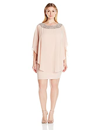 29f09720 Xscape Women's Short Chiffon Overlay W/Bead Top: Amazon.in: Clothing ...