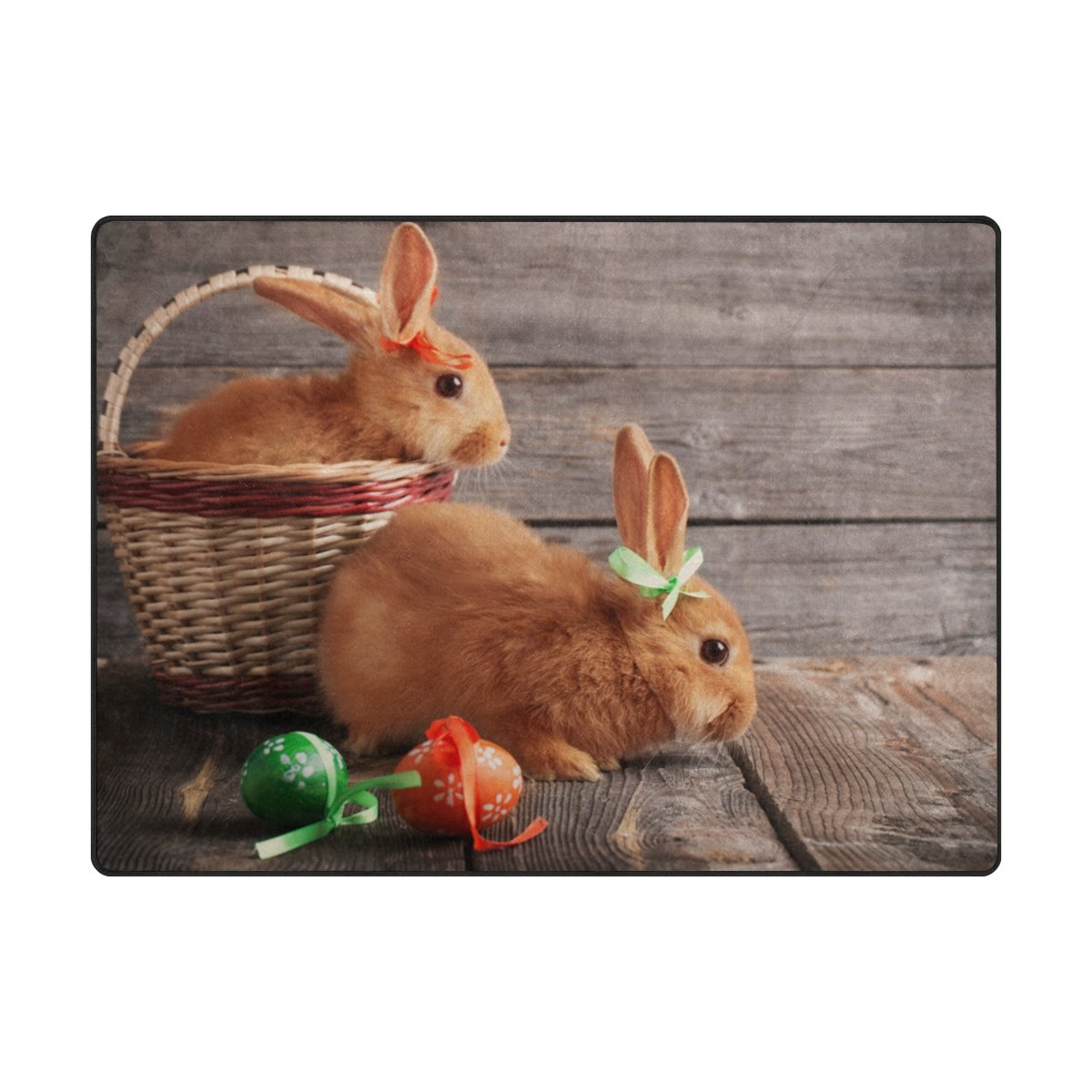 Vantaso Area Rugs Easter Egg And Bunny On Wood Board Non Slip Play Mats for Kids Bedroom Boys Girls Playing Room Living Room 80x58 inch
