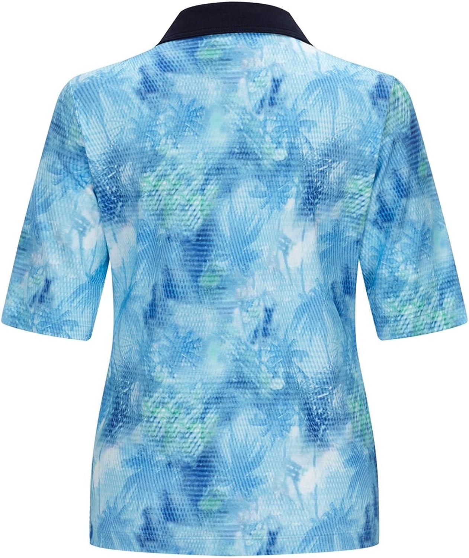 Rabe Damen Poloshirt mit Kontrastkragen und Allover-Print