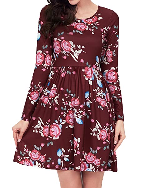 5ae33721 LAVENCHY Women Summer Floral Spring Casual Elegant Cute Swing Pleated A  Line Skater Tunic Long Sleeve