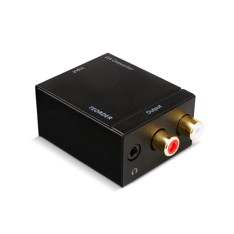 Teorder digitale ottica SPDIF coassiale Toslink to Analog Audio Converter con cavo a fibra ottica e adattatore di alimentazione versione aggiornata con la ...