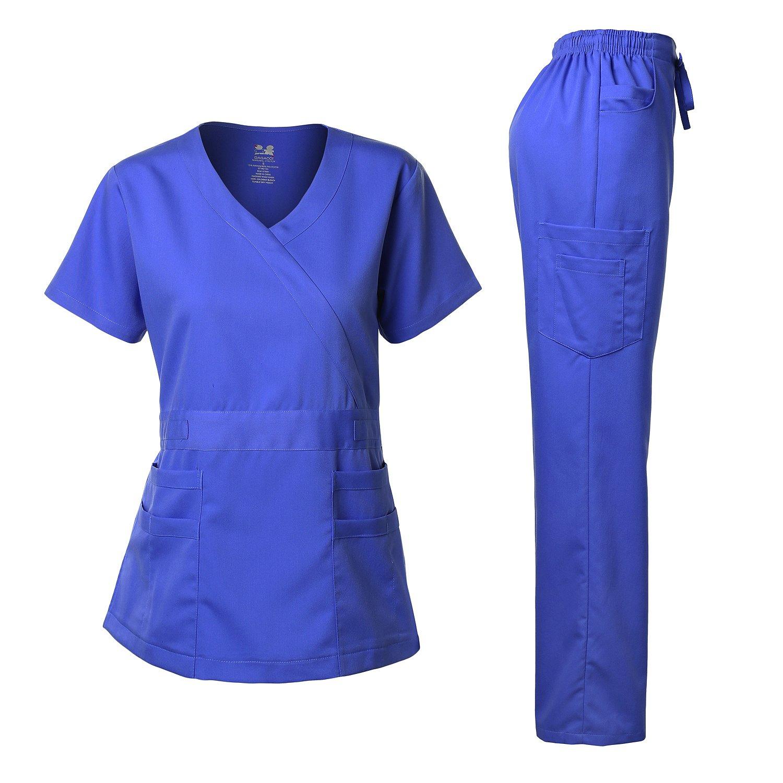 Dagacci Medical Uniform Women's Scrubs Set Stretch Ultra Soft Y-Neck Wrap Top and Pants Royal Blue L