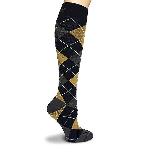 Argyle calcetines de compresión graduada para vuelo viajes deportes enfermera embarazo la artritis venas, edemas