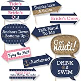Funny Last Sail Before The Veil - Nautical Bridal Shower & Bachelorette Party Photo Booth Props Kit - 10 Piece