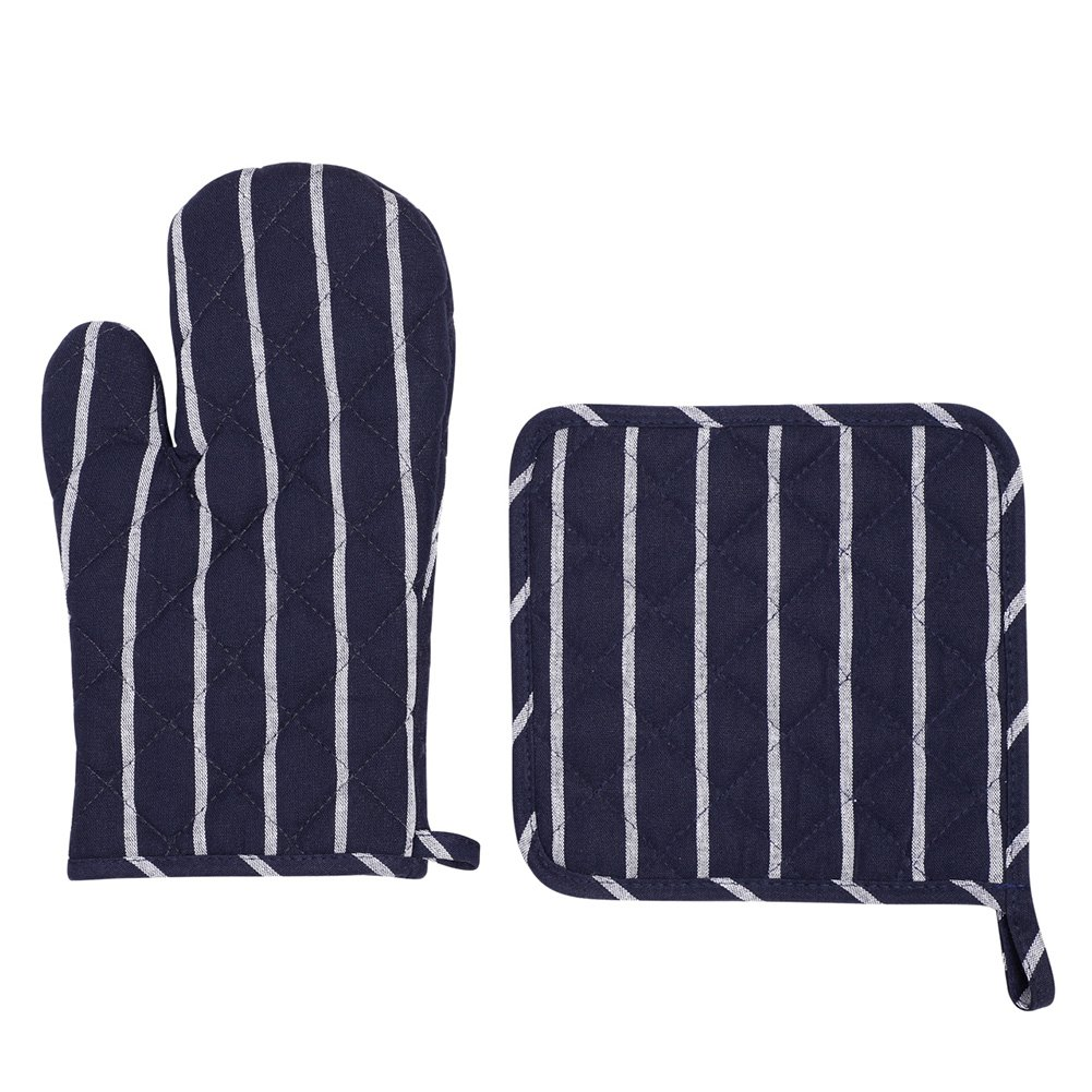 Deep Blue Stripe Microwave Glove Thicken Insulation pads Kitchen Cotton Oven Mitts Heat Resistant Oven Mitts with Disk pad for Kitchen Cooking Baking
