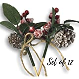 Berry Picks - Set of 12 Christmas Pine Cone and Red Berry Floral Pics - Artificial Holiday Flowers