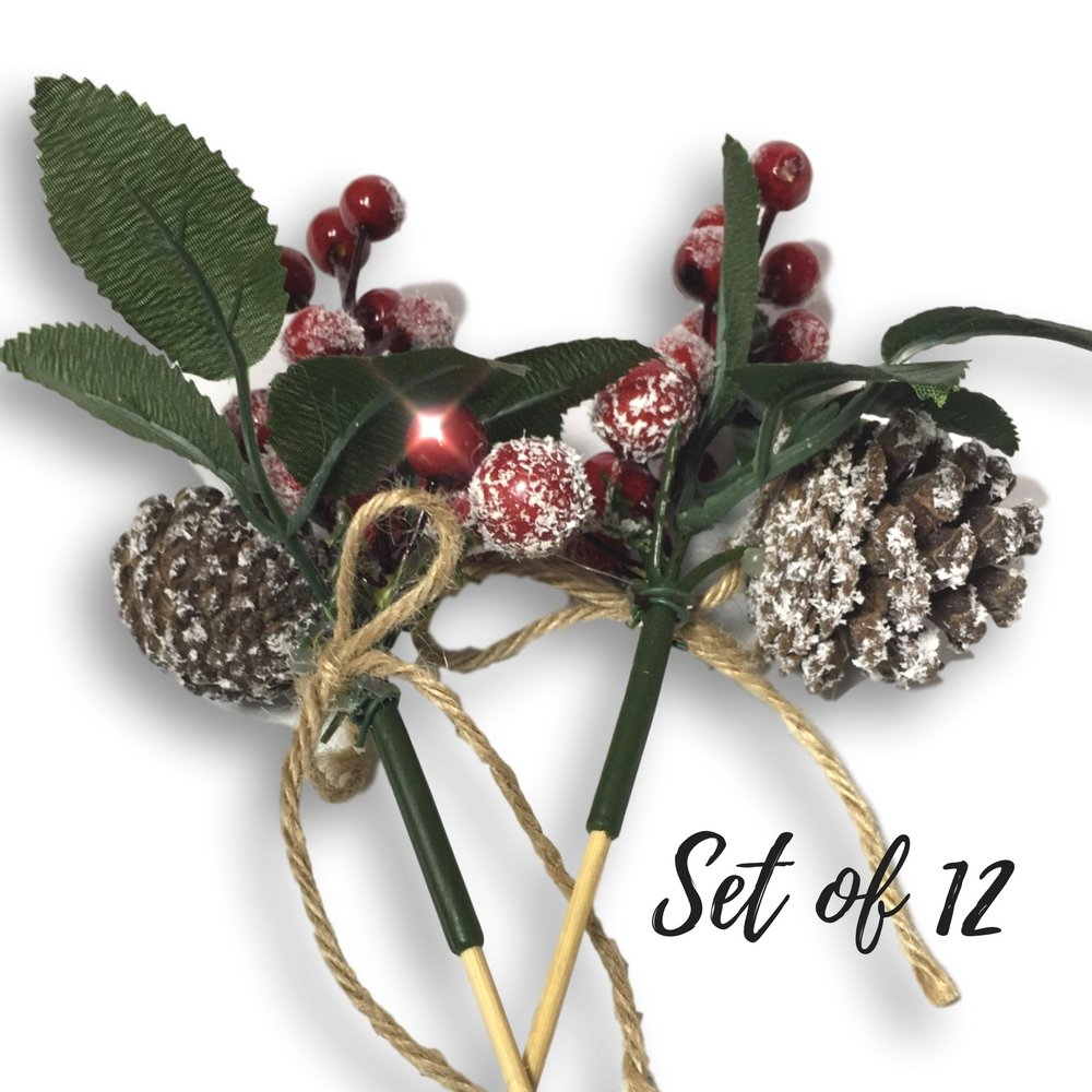 Banberry Designs Berry Picks - Set of 12 Christmas Pine Cone and Red Berry Floral Pics - Artificial Holiday Flowers
