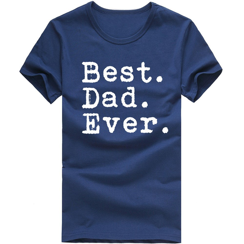 MISYAA Best Dad T Shirts for Men, Letters Muscle Tee Shirt Short Sleeve Sweatshirt Sport Tank Top Fathers Gift Mens Tops Navy