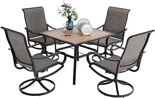 PHI VILLA Outdoor Patio Dining Set 5 Piece Clearance