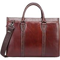 Banuce Vintage Full Grains Italian Leather Shoulder Tote Bag for Men Oil-Waxed Leather Handbag Business Briefcase 13 inch Laptop Attache Case