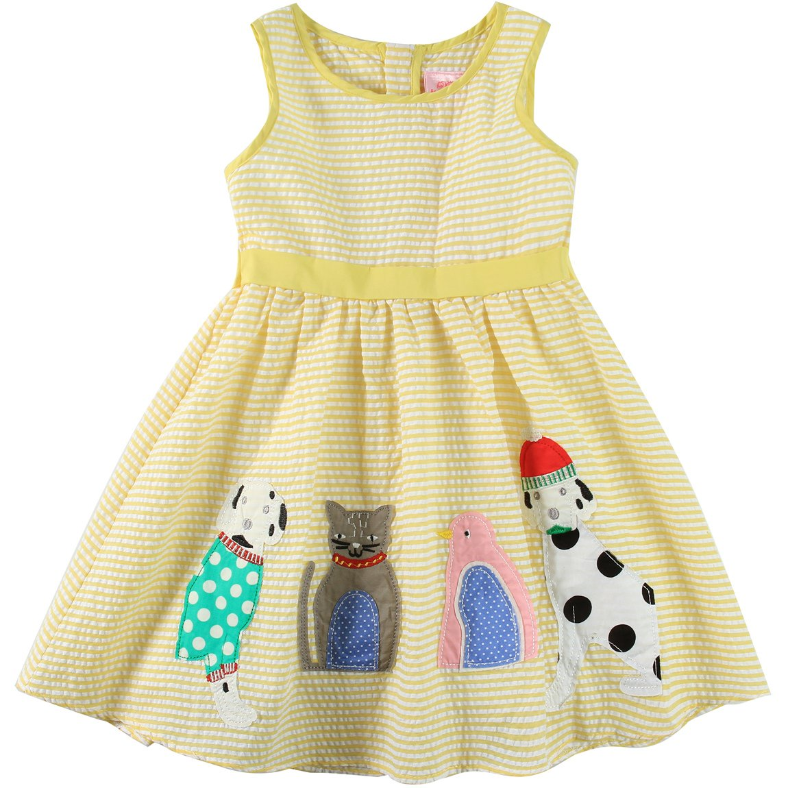 Sharequeen Girls Dress Animal Embroidery Double Bow Tie Party Sundress Yellow A090 (Yellow Stripe, 4-5 Years)