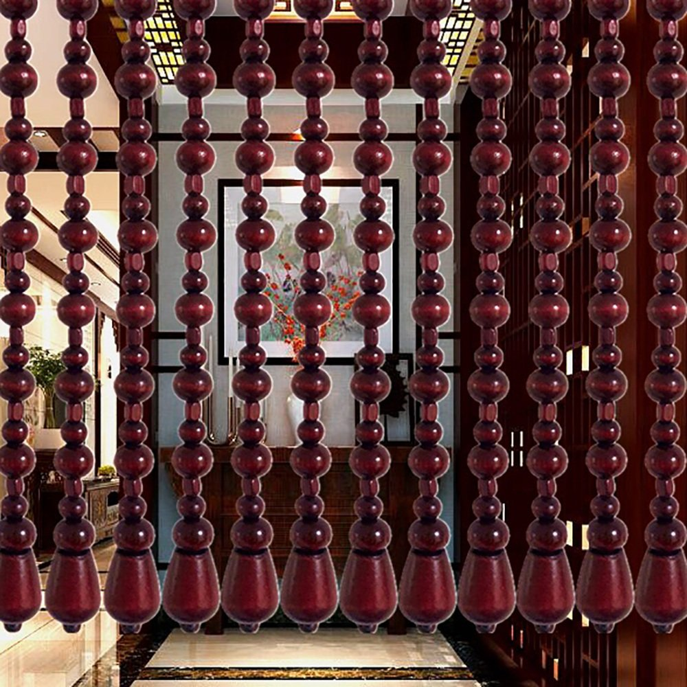 WUFENG-Curtains Beaded String Curtain Solid Wood Vintage Living Room Entrance Bedroom Strong Dark Red, 9 Sizes (Size : 1.76m-21roots)