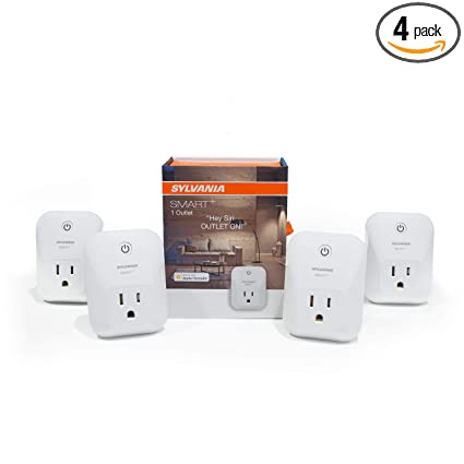 SYLVANIA General Lighting 70741 Sylvania 74582 + Bluetooth Smart Plug,  Works with Apple Homekit and Siri Voice Control, No Hub Required for Set  up, 4