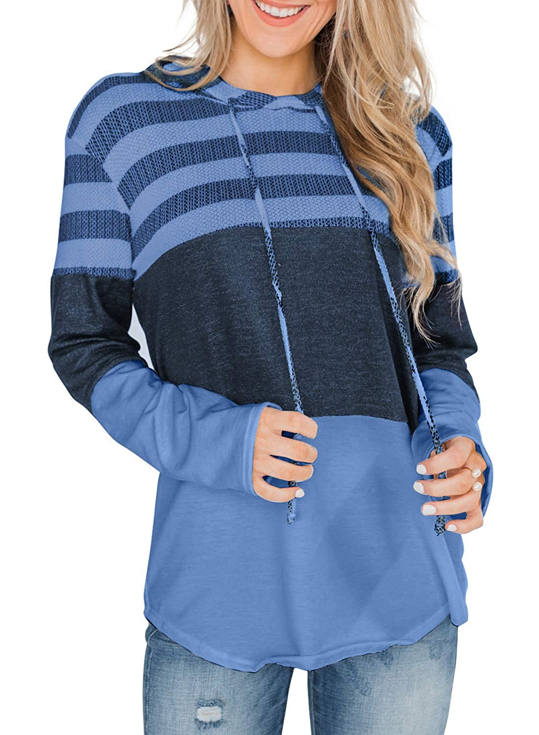 Womens Tops Striped Color Block Long Sleeve Hoodies Casual Loose Pullover Hooded Sweatshirts