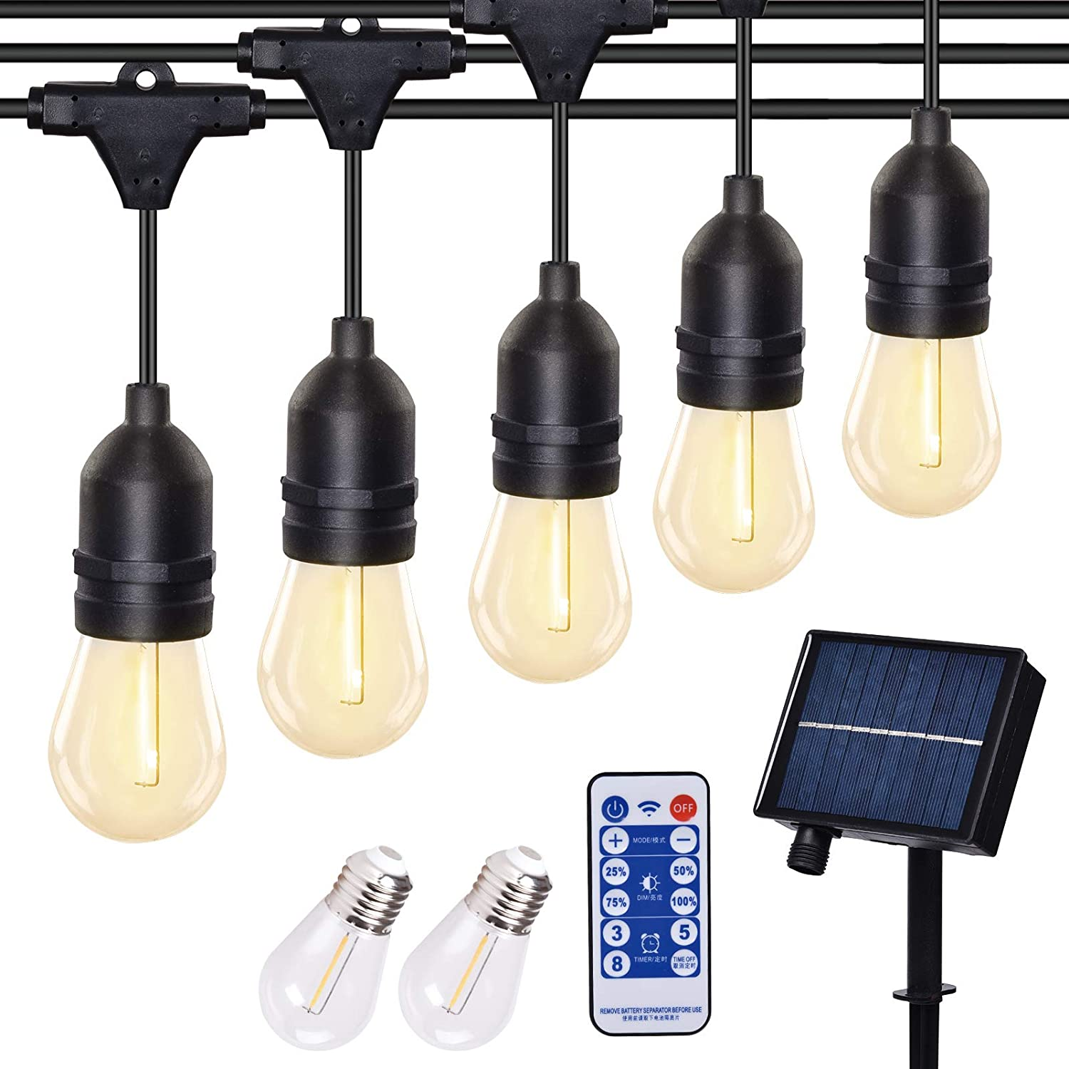 Outdoor String Lights, 23ft Solar String Lights Outdoor with 15+2 Edison Bulbs Patio Lights Outdoor Waterproof Decorative Lights for Backyard Garden Party Balcony Wedding and Cafe