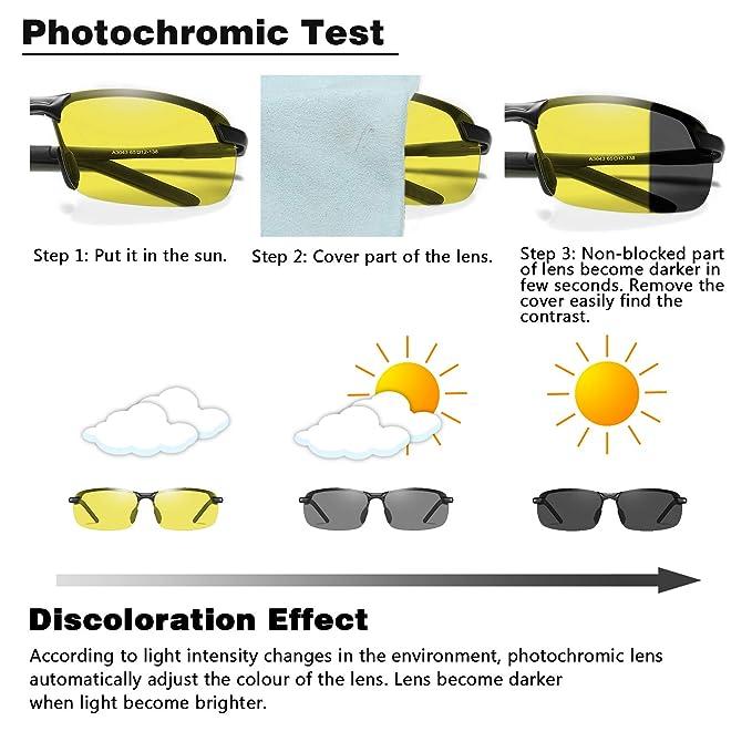 WHCREAT Gafas de Sol Fotocrómicas polarizadas para Hombre 100% UV400 Visión Nocturna en todas las Condiciones