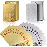 Joyoldelf 2 Decks of Playing Cards, 24K Foil Waterproof Poker with Gift Box – Classic Magic Tricks Tool for Party and…
