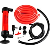 Wadoy Siphon Hand Pump For Gas/Gasoline/Fuel/Oil/Fluid/Liquids Transfer,Manual Plastic Sucker Pump With Two 51 Inch Hoses