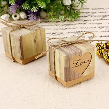 100pcs Heart Love Rustic Sweet Laser Cut Candy Gift Boxes Wedding