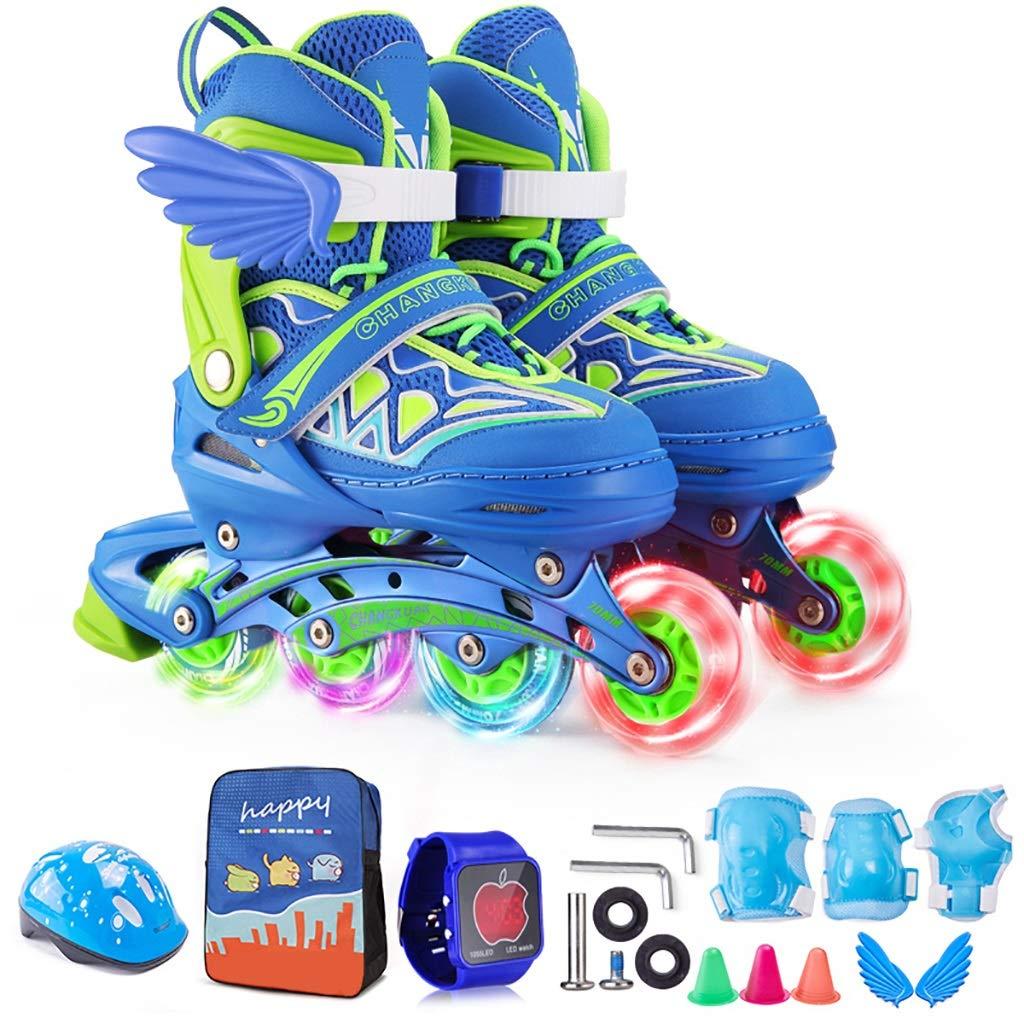 調整可能な初心者向けの子供用スケートローラースケートのフルセット、青 (Color : B, Size : S(EU31-34)) B S(EU31-34)