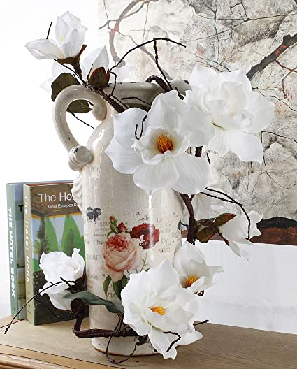 Get Orange 73 Inch Artificial White Magnolia Flower Silk Flower Green Leaf Vine Home Party Decor Wedding Dining Table Hotel Party Wedding Diy Craft