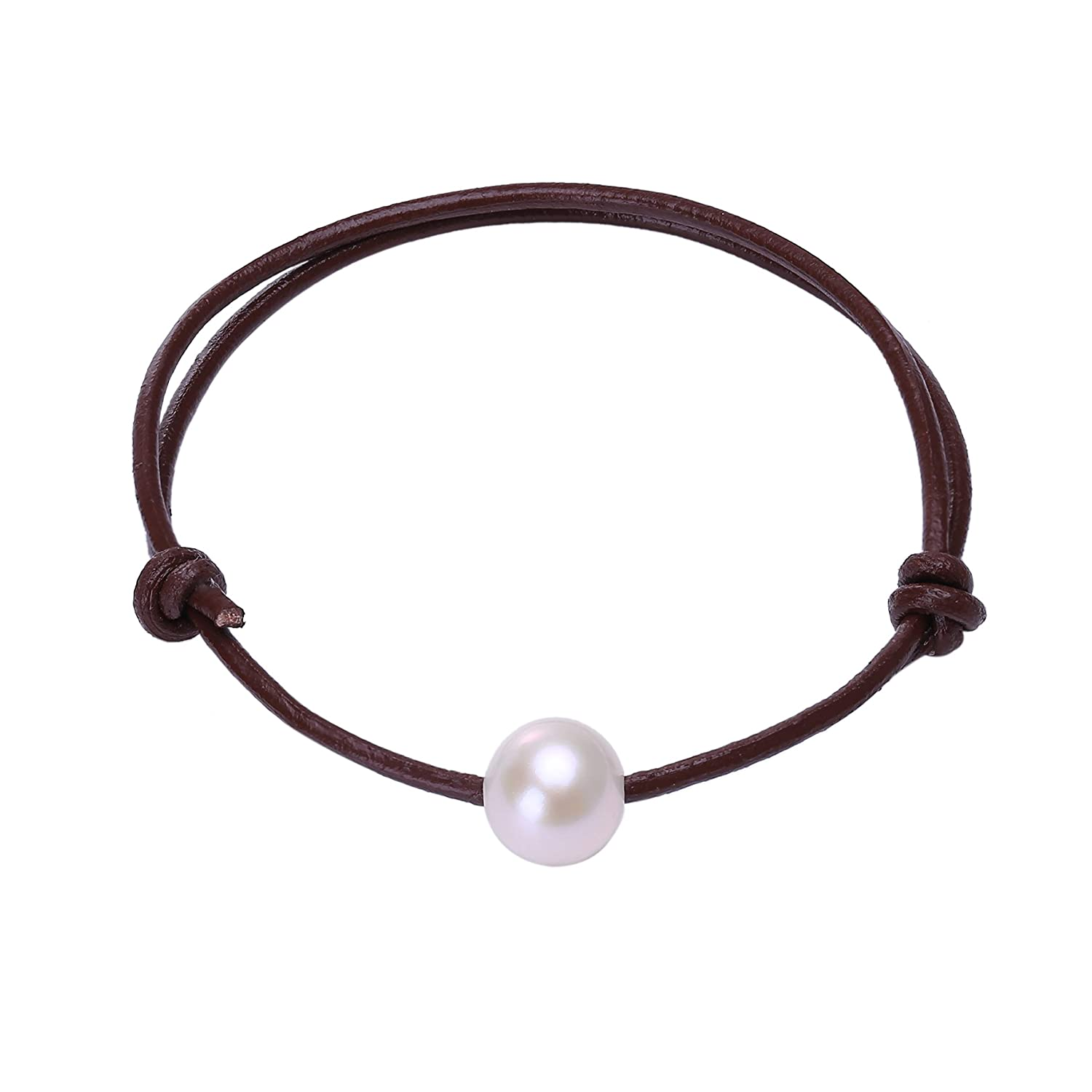 Single White Luster Real Pearl Beads Bracelet on Genuine Leather Cord Adjustable 3 Color for Choose Shengsheng C12