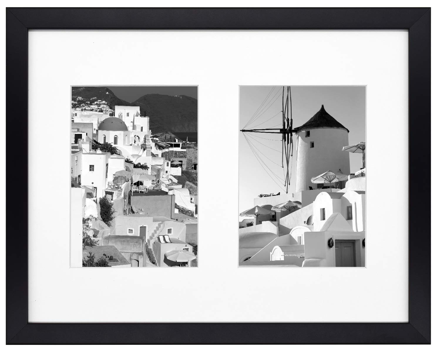 Golden State Art, 11x14 Black Photo Wood Collage Frame with Real Glass and White Mat displays (2) 5x7 Pictures