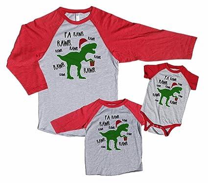 6daa522162 7 ate 9 Apparel Family Matching Christmas Pajama Shirts - Dinosaur Red  Baseball Tee Shirt (