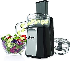 Oster Oskar 2-in-1 Salad Prep & Food Processor, Black FPSTFP4050 (Silver) (Renewed)