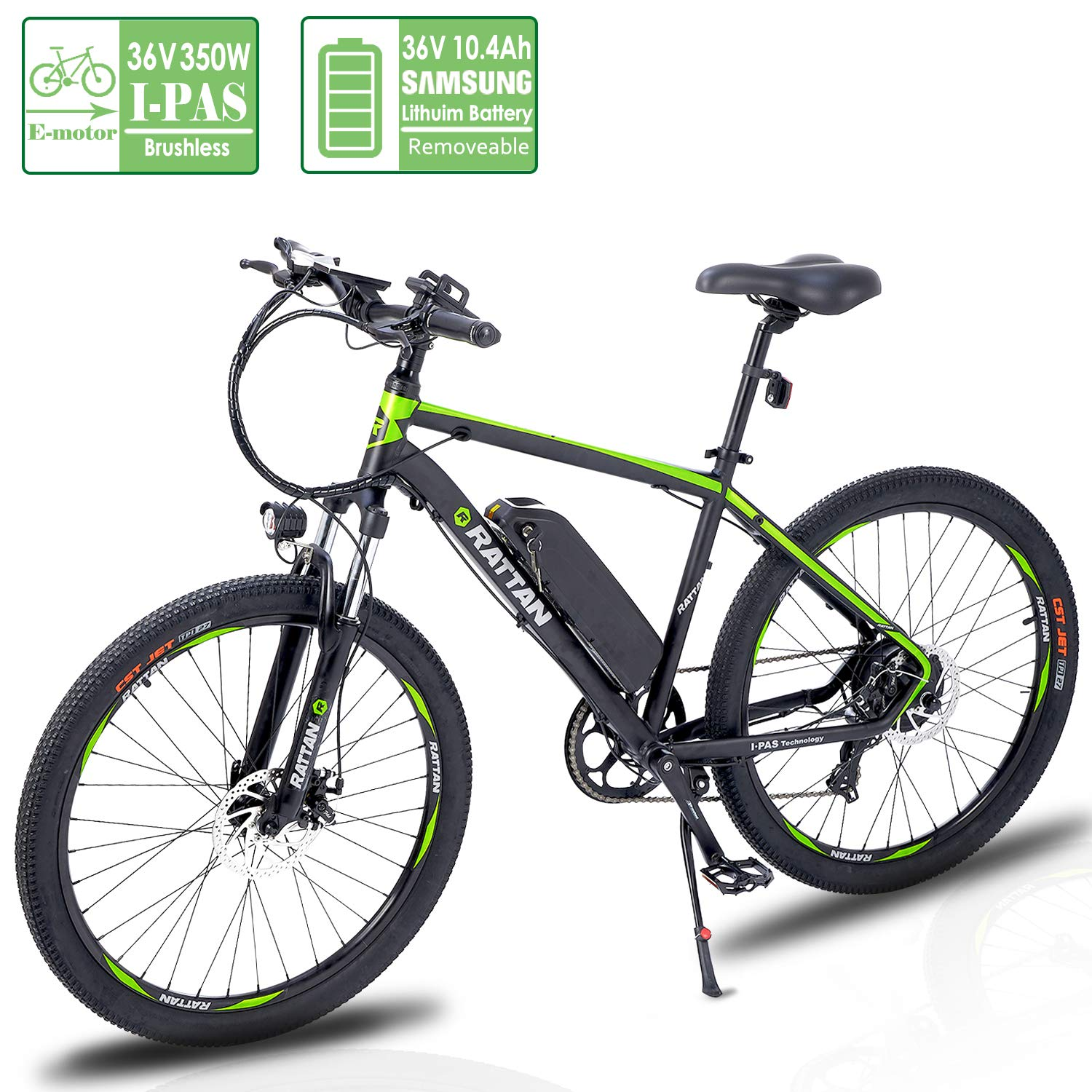 Reibok Ebike IPAS New Technology Electric Bicycle 26 inch Rattan 350W IPAS Motor 7 Speed Electric Mountain Bike E-Bike 36V 10.4Ah Lithium Battery Electric Bike Adult Assisted Ebike