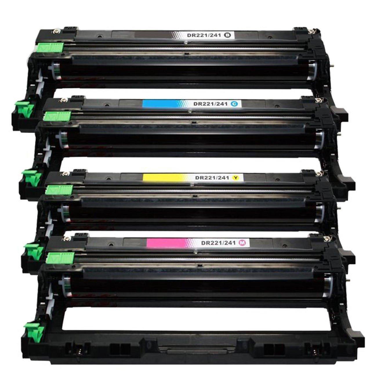 1 Set of 4 Save on Many Compatible DR-221CL DR221CL DR221 BK/C/M/Y - Black Cyan Magenta Yellow Drum Unit Set for Brother DCP-9020CDN HL-3140CW HL-3150CDN HL-3170CDW HL-3180CDW MFC-9130CW MFC-9330CDW MFC-9340CDW Printers (uses with TN221 TN-221 TN225 TN-22