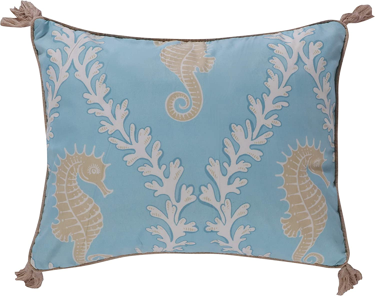 Amazon Com Levtex Home Kailua Decorative Pillow 14x18in Seahorse Teal Blue Cream And Taupe Feather Filled Home Kitchen