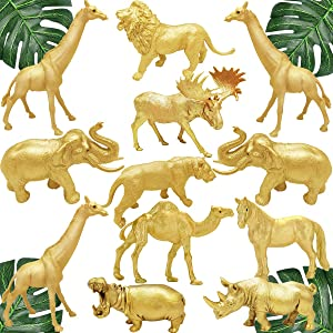Metallic Gold Safari Animals Figurines Toys 12Pcs, Jungle Animal Figures, Wild Plastic Animals with Giraffe Lion Elephant for Baby Shower Decor, Wild Themed Birthday Wedding Party Favors