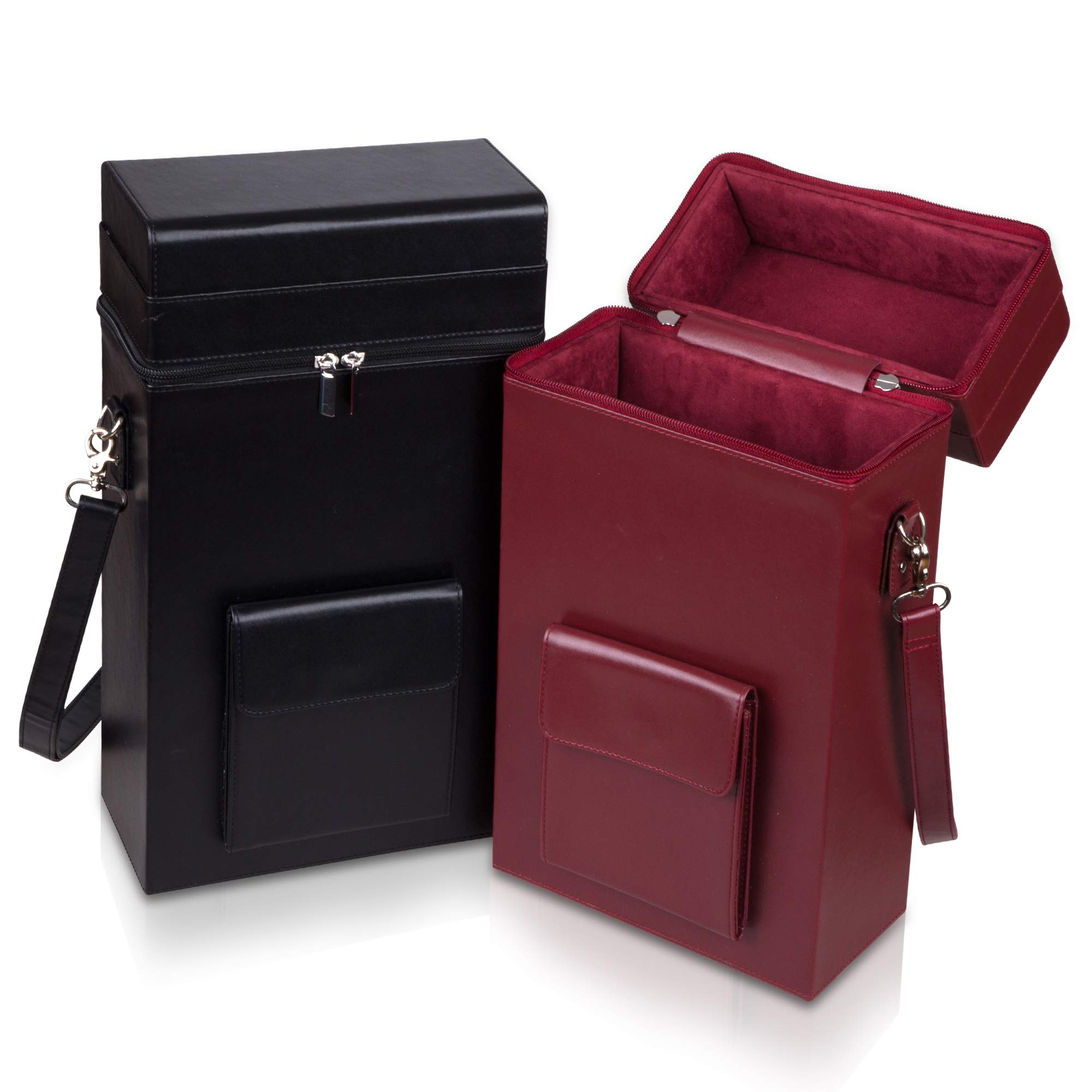 Premium Leather Wine Tote Bag: Padded Double Bottle Wine Carrier Caddy - Wine Bags for Travel (Black)
