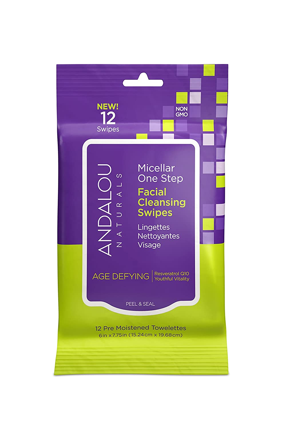 Andalou Naturals Age Defying Micellar Facial Cleansing Swipes, 12-Piece 90655