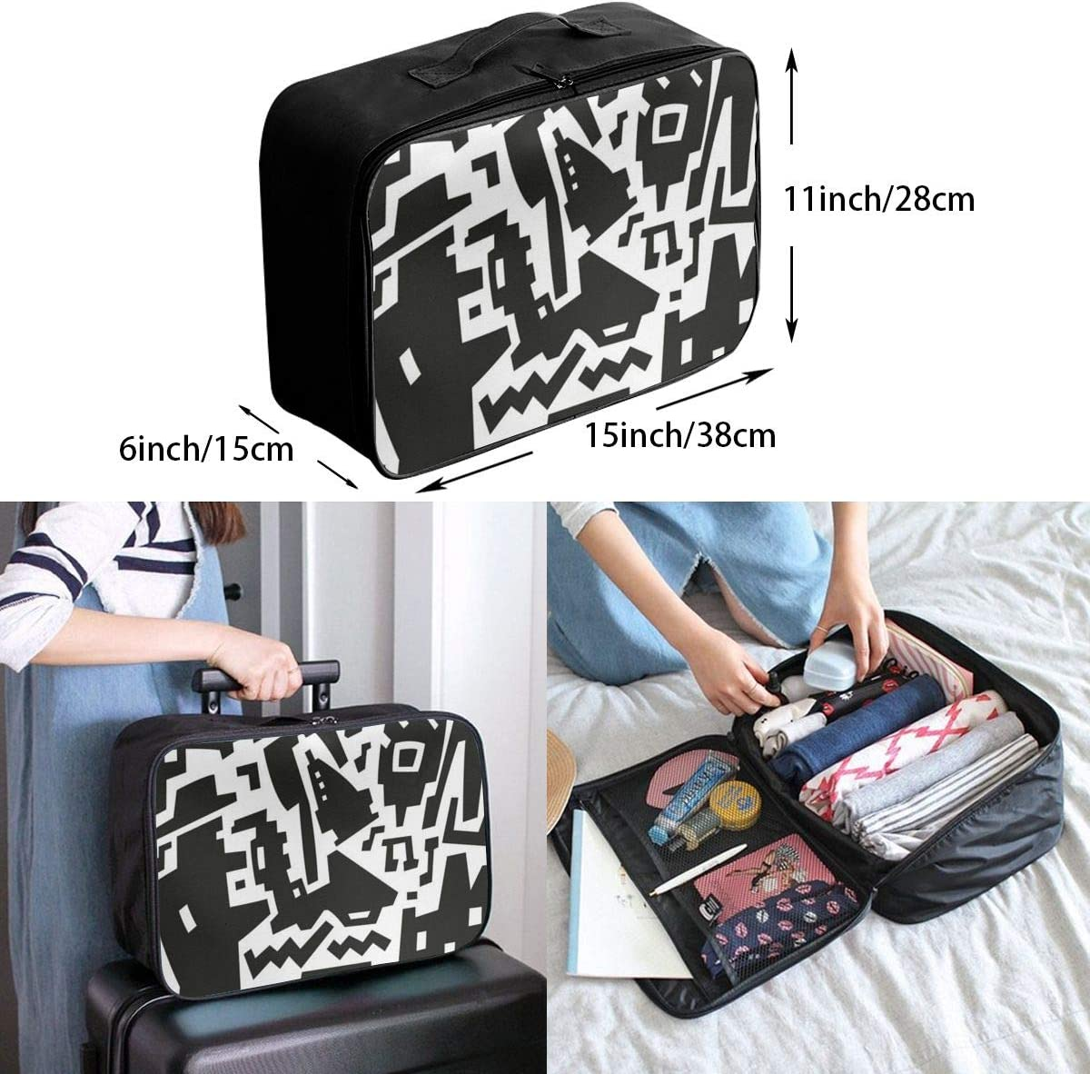 Abstract The Cartoon Interesting Mens And Womens Travel Folding Bags Gym Sports Waterproof Light Travel Bags