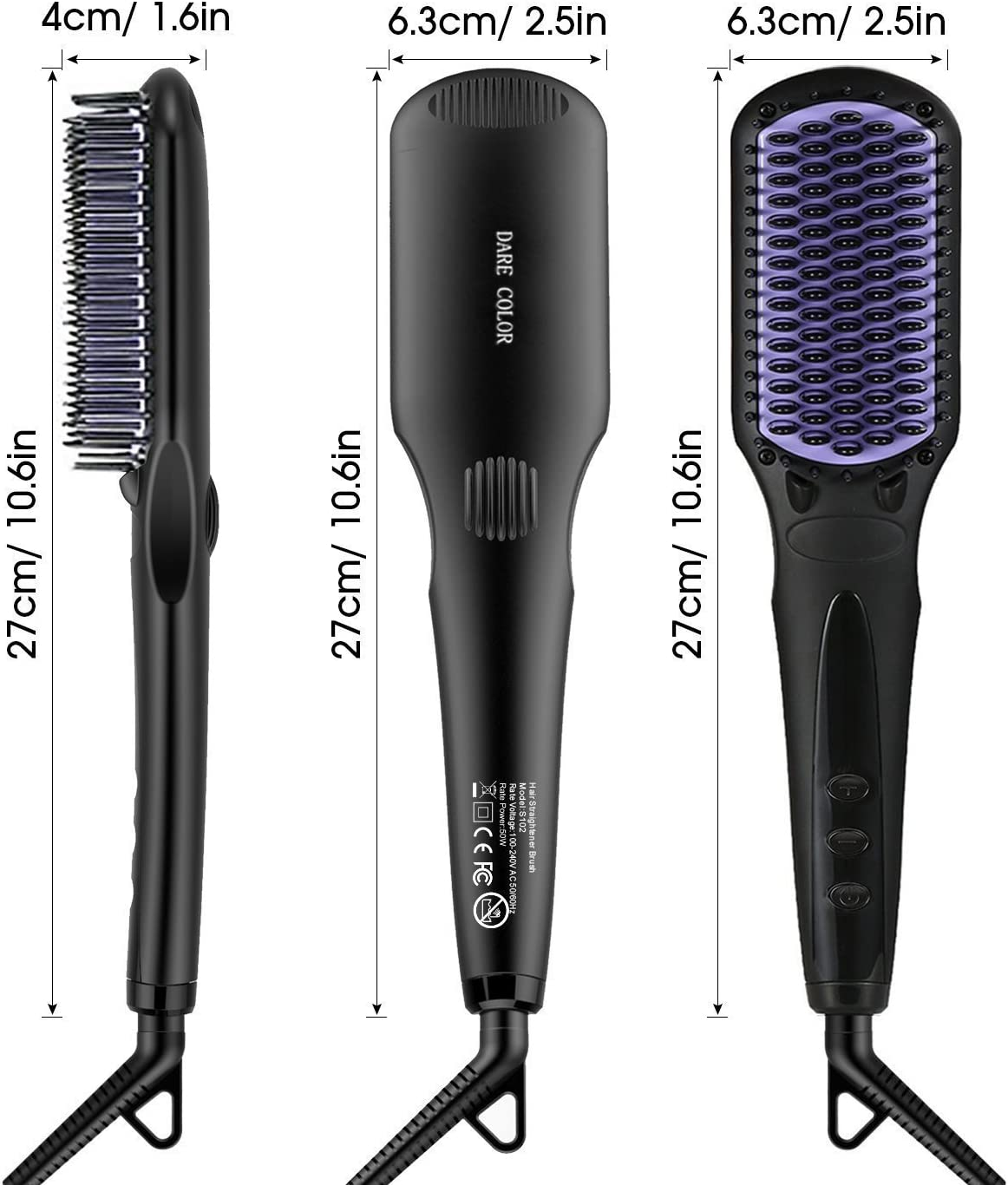 Hair Straightening Brush, Dare Color Ionic Heated Hair Straightener Ceramic Heated Hair Comb MCH Fast Heating Detangling Brush for Frizz and Free Hair