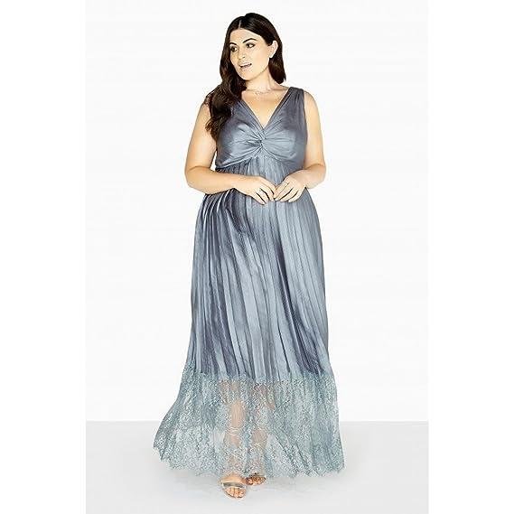 2122ab27864 Little Mistress Curvy Womens Ladies Maya Empire Lace Maxi Dress (24 UK) ( Grey)  Amazon.co.uk  Clothing