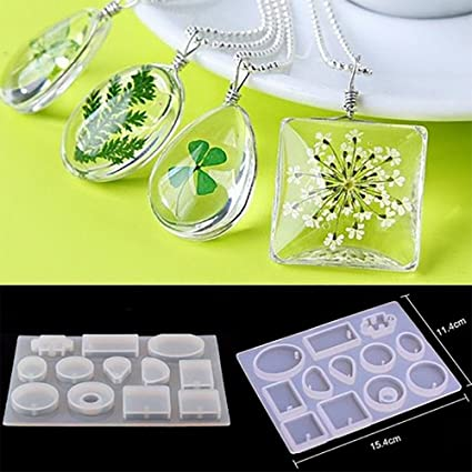 Amazon Com 12pcs Set Resin Casting Molds Silicone Mold Necklace