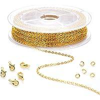 XUBX 39 voet Ketting kettingen voor sieraden maken, Kabel Ketting, schakelketting met 20 kreeft gespen en 50…