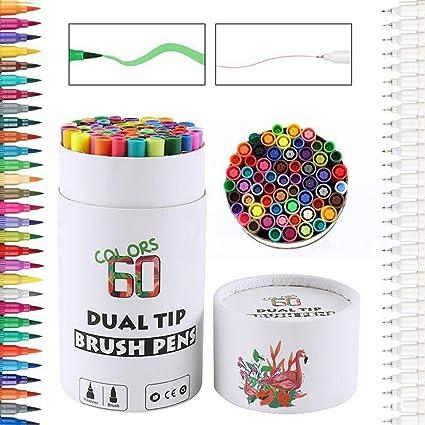 Tocone 60 colores marcador rotulador de doble punta, rotuladores con doble punta de pincel 0,4 mm, Perfecto para Colorear libros para adultos dibujar, manga: Amazon.es: Oficina y papelería