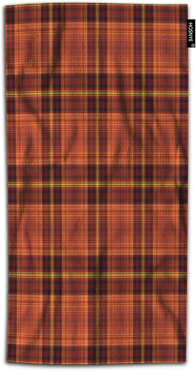 HOSNYE Plaid Hand Towel for Bathroom Tartan Traditional Checkered British Fabric Warm Plaid with Black Red Gold and Yellow Absorbent Soft Towels for Beach Kitchen Spa Gym Yoga Face Towel