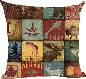 ramirar Retro Brown Deer Bird Fish Cabin Forest Pine Nut Trees Maple Leaves Field Fall Y'all Decorative Throw Pillow Cover Case Cushion Home Living Room Bed Sofa Car Cotton Linen Square 18 x 18 Inches