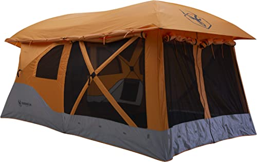 Gazelle T4 Plus GT450SS Pop-Up Portable Camping Hub Tent, Easy Instant Set up in 90 Seconds, Sunset Orange, 8-Person, Family, Overlanding, 94 x 168